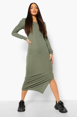 boohoo Tall Rib Scoop Neck Low Back Midaxi Dress