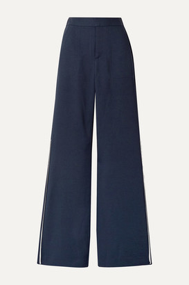La Ligne Riviera Grosgrain-trimmed Pique Wide-leg Pants - Navy