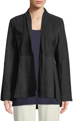 Eileen Fisher Soft Suede High-Collar Jacket