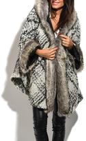 White Flannel Faux-Fur Hooded Wool-Blend Coat