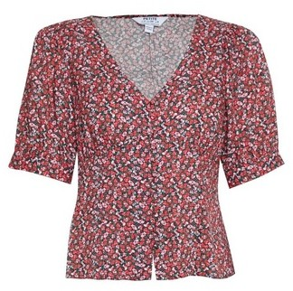Dorothy Perkins Womens Dp Petite Red Ditsy Print Button Through Top, Red