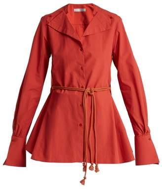 Palmer Harding Palmer//Harding Palmer//harding - Tie Waist Cotton Poplin Shirt - Womens - Red