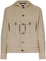 Kiko Kostadinov Cocoon check print button-down hooded fire jacket