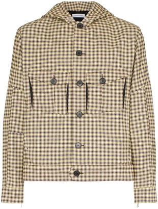 KIKO KOSTADINOV Cocoon check print button-down hooded fire jacket