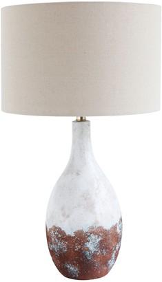 Creative Co-op DA9106 Bronze & White Ceramic Table Lamp with Linen Shade