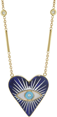 Jacquie Aiche Small Lapis Turquoise Mother Of Pearl Heart Necklace