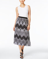 NY Collection Petite Printed Pull-On Pleated Midi Skirt