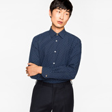Paul Smith Men's Tailored-Fit Navy Clover Pattern Cotton Shirt With Contrast Cuff Lining