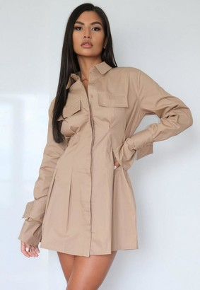 Missguided Stone Utility Pleated Waist Shirt Dress