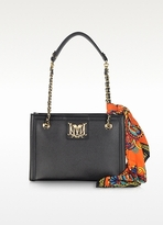 Moschino Black Saffiano Leather Shoulder Bag