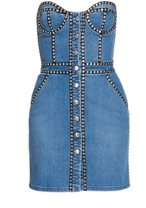 Moschino Strapless Studded Denim Sheath Dress