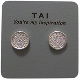 Tai Mini Disc Crystal Pierced Stud Earrings (silver-plated-base)
