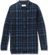Solid Homme Checked Wool-Blend Flannel Shirt