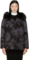 Yves Salomon Army By Black and Grey Tie-dye Fur-lined Parka