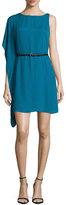 Halston Bateau-Neck Flutter-Sleeve Belted Dress, Atlantic