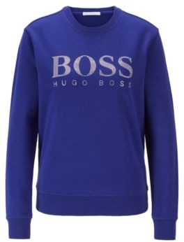 HUGO BOSS French-terry sweatshirt with crystal-filled logo