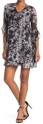 Calvin Klein Bell Sleeve V-Neck Floral Trapeze Dress
