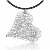 Orlando Orlandini Diamond 18K White Gold Heart Pendant w/Lace