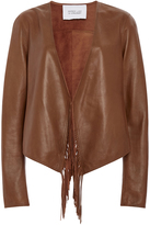 Derek Lam 10 Crosby Leather Jacket with Fringed Detail