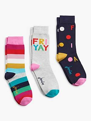 Joules Brill Bamboo Stripe and Friyay Novelty Ankle Socks, Pack of 3, Multi