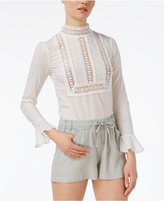 Endless Rose Mock-Neck Crochet-Detail Top