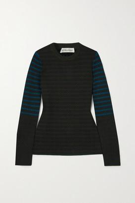 Victoria Beckham Cotton Jacquard-knit Sweater - Dark green