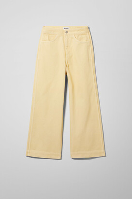 Weekday Vida High Cropped Wide Jeans - Yellow