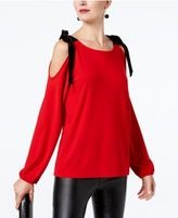 INC International Concepts Velvet-Tie Cold-Shoulder Top, Created for Macy's