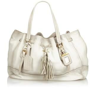 Prada White Leather Tassel Tote Bag