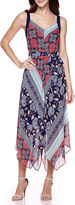 Robbie Bee Sleeveless Patchwork Print Hanky-Hem Maxi Dress