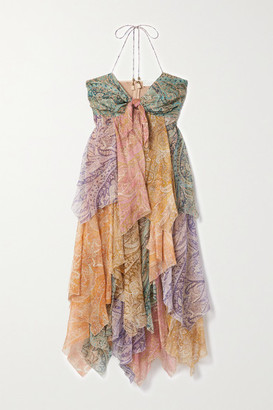 Zimmermann Brighton Tiered Patchwork Paisley-print Silk-crepon Midi Dress - Orange
