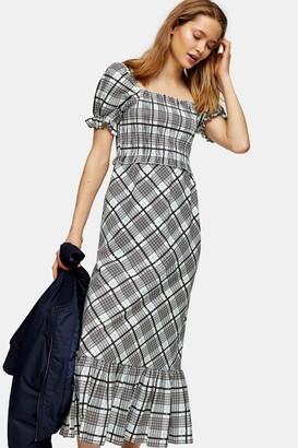 Topshop Blue Sheer Midi Check Dress