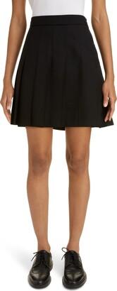 Thom Browne Drop Back Pleated Wool Miniskirt