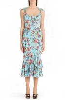 Dolce & Gabbana Women's Floral Stretch Silk Flounce Hem Dress