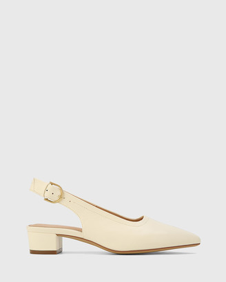 Wittner Andres Leather Pointed Toe Low Heel Slingbacks