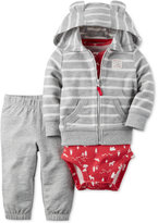 Carter's Baby French Terry Boys' 3-Pc. Striped Hoodie, Bodysuit & Pants Set