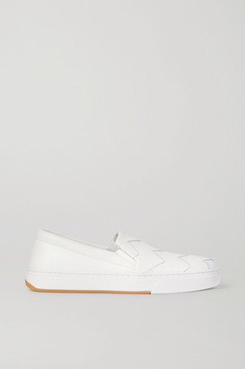 Bottega Veneta Speedster Intrecciato Leather Slip-on Sneakers - White