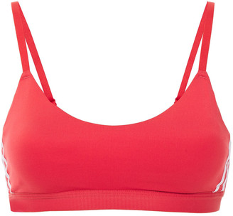adidas Mesh-paneled Striped Stretch Sports Bra