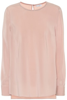 Brunello Cucinelli Embellished stretch-silk blouse