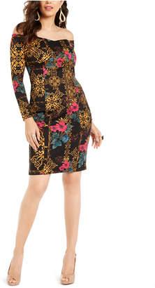 Thalia Sodi Printed Off-The-Shoulder Bodycon Dress