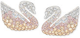 Swarovski Silver-Tone Ombré Crystal Swan Stud Earrings