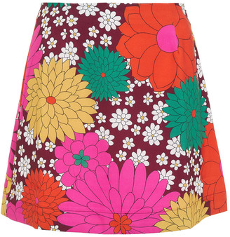 Dodo Bar Or Leela Floral-print Stretch-crepe Mini Skirt