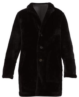 Yves Salomon Reversible Single Breasted Shearling Coat - Mens - Black