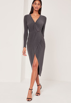 Missguided Pleated Wrap Ankle Length Dress Grey