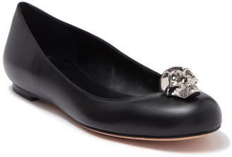 Alexander McQueen Skull Accent Leather Flat