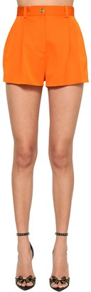 Versace High Waist Wool Blend Gabardine Shorts