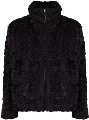 HUGO BOSS Faux-Fur Zip-Up Jacket