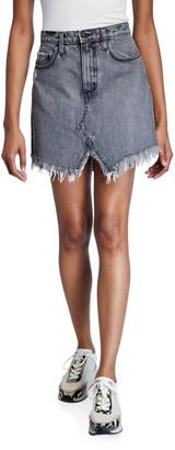 Nobody Denim Edge Shredded Cutout Skirt