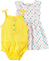 Carter's Bodysuit And Sleeveless Flutter Sleeve Dress Set - Baby Girls