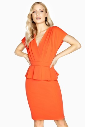 Paper Dolls Outlet Brie Mock Wrap Peplum Dress
